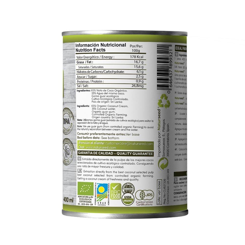 Naturseed - Nata de coco ecológica para cocinar, 4x400ml sin lactosa 100% natural. Nata Vegetal: Amazon.es: Alimentación y bebidas