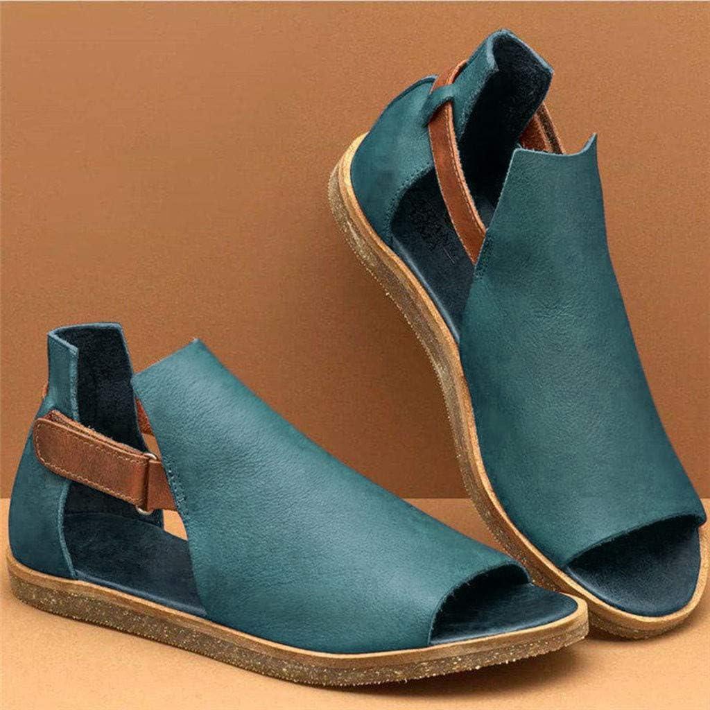 Dasuy Women Soft Leather Flat Gladiator Sandals Summer Roman Peep Toe Ankle Strap Comfy Slide Sandals