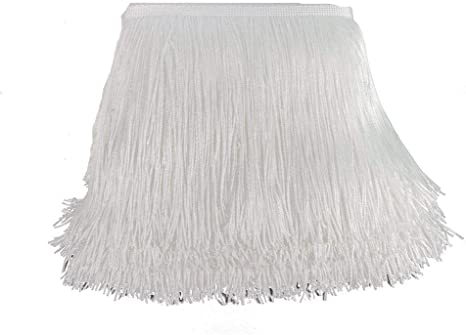 KOLIGHT 10yards Width 8inch Polyester Lace Tassel Fringe Trim Decoration for Latin Dress Stage Clothes Lamp Shade Teal