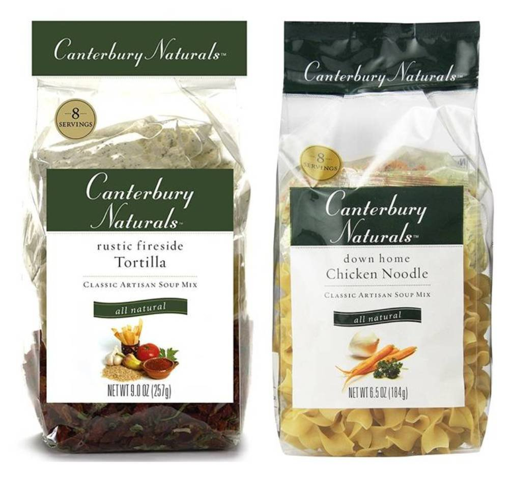 Canterbury Naturals Classic Artisan Soup Mix 2 Flavor Variety Bundle: (1) Rustic Fireside Tortilla, and (1) Down Home Chicken Noodle, 6.5-9 Oz. Ea.