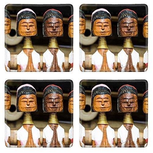 Karens Doll - MSD Square Coasters Non-Slip Natural Rubber Desk Coasters design 30620277 long neck karen wood dolls