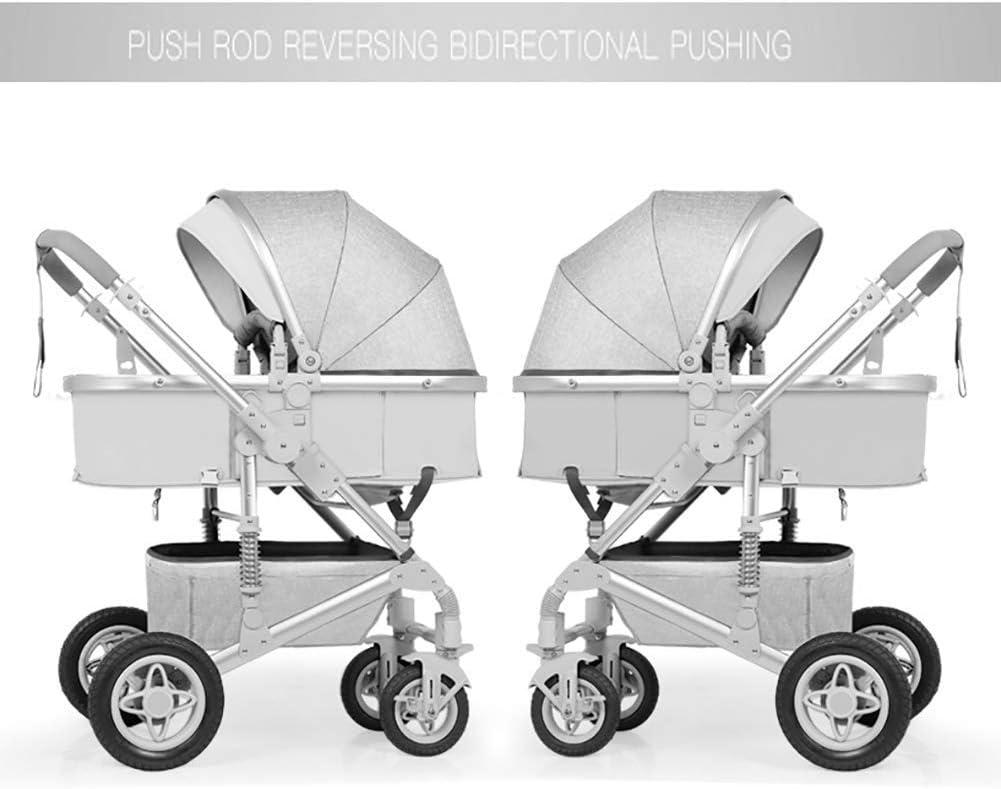 WYZXR Kinderwagen Kinderwagen, zusammenklappbarer Leichter Stoßdämpfer Kinder schieben Kinderwagen Aluminiumlegierung Rahmen (Farbe: Hanfgrau) Black