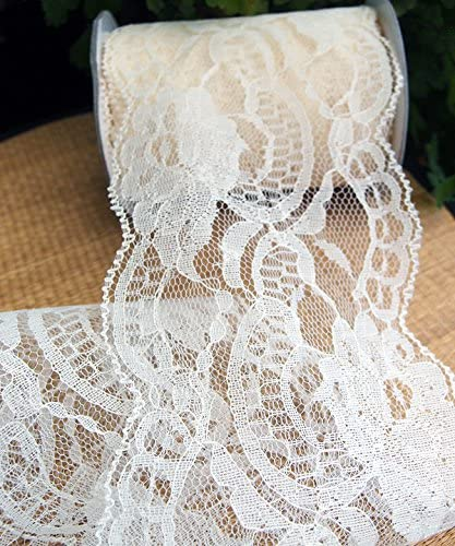 Floral Designing and Crafts 5.5 Wide x 10 Yards White Floral Pattern Lace Ribbon for Decorating