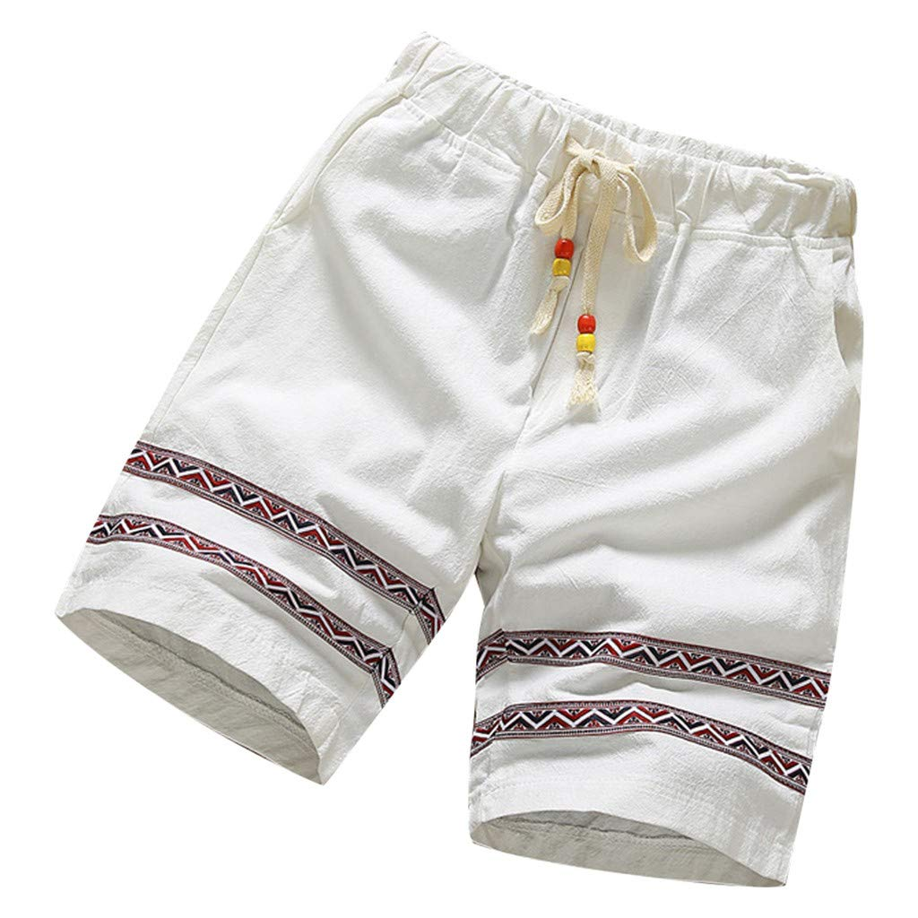 Ninasill Hot!Men's Ethnic Print Cotton and Linen Surfing Beach Shorts Large Size Tethered Sports Shorts Summer Pants White