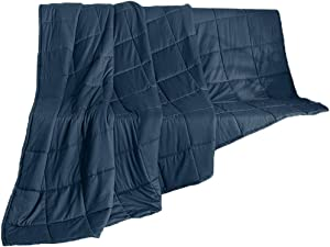 SMTD Relax Calming Cooling Weighted Bed Blanket for Adults Heavy Blanket Quility Premium Comfort Soft 100% Cotton with Hypoallergenic Glass Beads (20 lbs - 60x80 - Queen Size)-1221836.8 KG-Blue