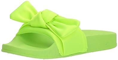 f493ddf885b1 Steve Madden Girls  JSILKY Slide Sandal Citron 2 M US Little Kid