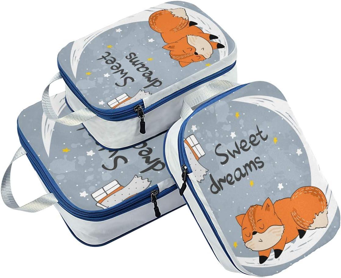 o Sleeping Fox 3 Set Packing Cubes,2 Various Sizes Travel Luggage Packing Organizers