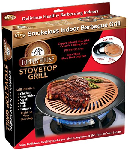 Copper House Stovetop Grill Smokeless Indoor BBQ Grill by As Seen on TV