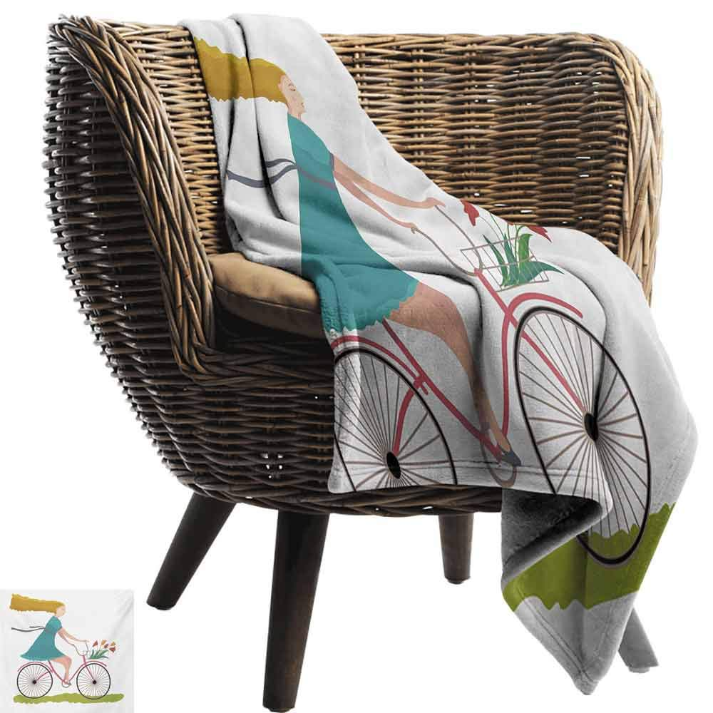 vanfan-home Bicycle Swaddle Blanket,Young Woman on Bike with Basket of Tulip Flowers Riding in The Spring Countryside Lightweight Extra Soft Skin Fabric Not Allergic (60''x35'')-Multicolor by vanfan-home (Image #3)