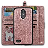 Ymhxcy LG Stylo 3 Wallet Case, LG Stylo 3 Plus Case,LG Stylus 3 Case,PU Leather [9 Card Slots][Detachable][Kickstand] Phone Case & Wrist Lanyard LG LS777-PT Rose Gold