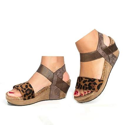 42f39756090 Amazon.com: Veodhekai Womens High Heel Platform Sandals Leopard Open ...
