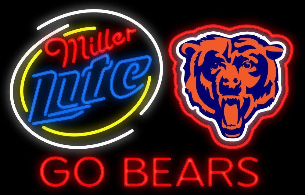 Desung New 24''x20'' Go Chicago Bear Miller Lite Beer Neon Sign Man Cave Bar Pub Beer Neon Lamp Real Glass Neon Light DX36