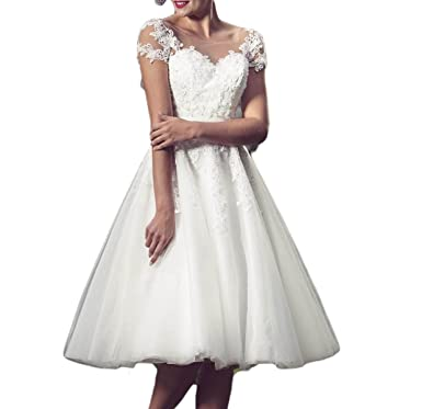 Udresses Vintage Vestidos de novia Knee Length Illusion Sheer Lace Wedding Dresses With Cap Sleeves D70
