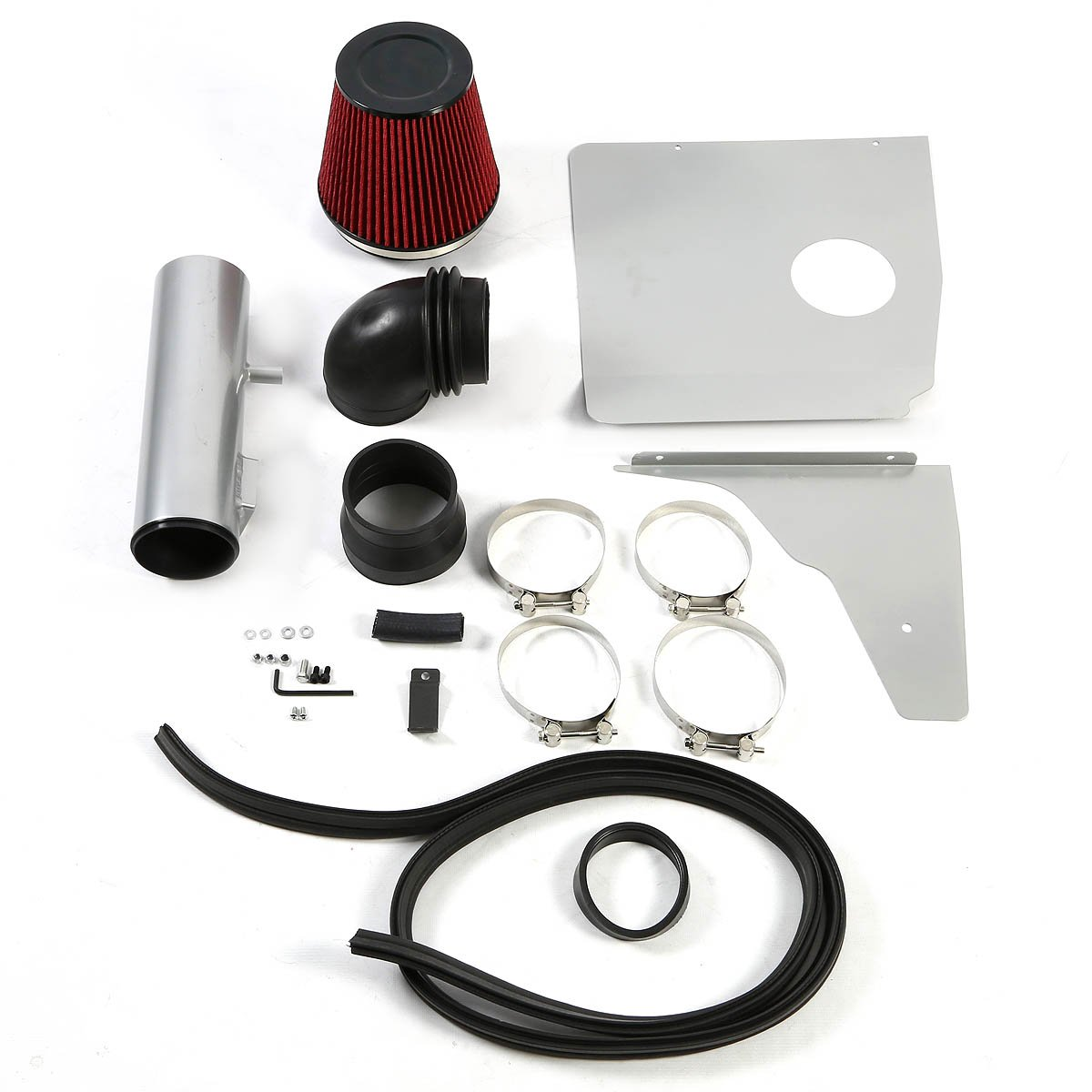V6 For Chevy Camaro Silver Coated Aluminum Air Intake Pipe+Red Filter System