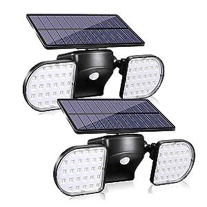 Sunenvoy Solar Light Outdoor with Motion Sensor, Solar Wall Light with Dual Head Spotlights 56LED Waterproof 360-Degree Rotatable Solar Security Light Outdoor for Garden Solar Lights Wireless (2 pack)