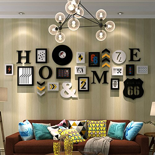 Home@Wall photo frame Wooden Decorative Frame Wall, Photo Frame Wall Sets Of 13 Photo Wall Suspension No Trace Nails Creative Decorative Paintings Set ( Color : B ) by ZGP