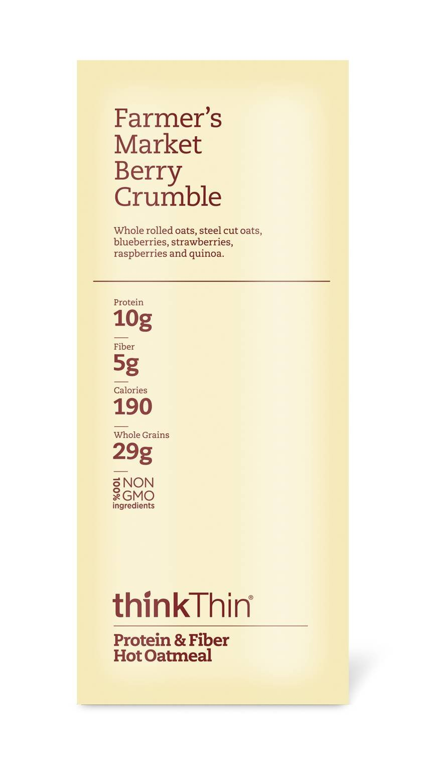 Oatmeal Packets by thinkThin, Instant Protein & Fiber Hot Oatmeal for On The Go- 10g Protein, 5g Fiber, Kosher - Farmer's Market Berry Crumble, 1.76 oz Packets (12 Boxes/6 Packets Per Box) by thinkThin (Image #2)