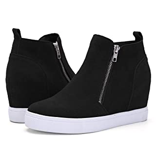 Athlefit Women's Hidden Wedge Sneakers Platform Booties Casual Shoes Size 8.5 Black