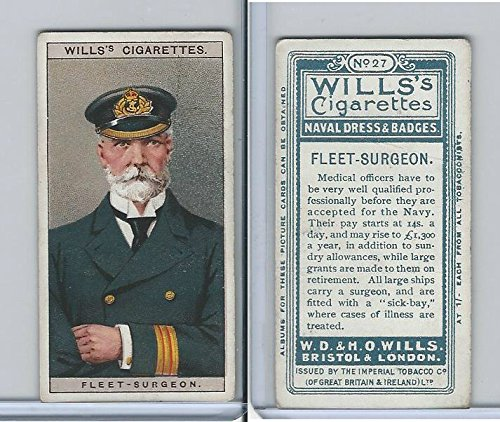 - W62-91 Wills, Naval Dress & Badges, 1909, 27 Fleet Surgeon
