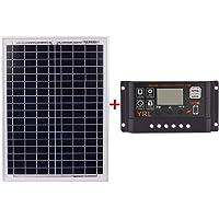 TOOGOO Black 18V20W Paneles Solares 12V / 24V Controlador Solar Con La Fuente De Alimentacion Del Viaje De La Bateria De La Interfaz Usb (50A)