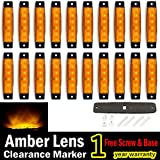 (Pack of 20) LEDVillage 20 Pcs 3.8' 6 LED Amber Side Marker Lights, Amber Trailer Marker Lights, Rear Side Marker Lamp Amber, Led Marker Lights for Trucks, Cab Marker, RV Marker light Yellow