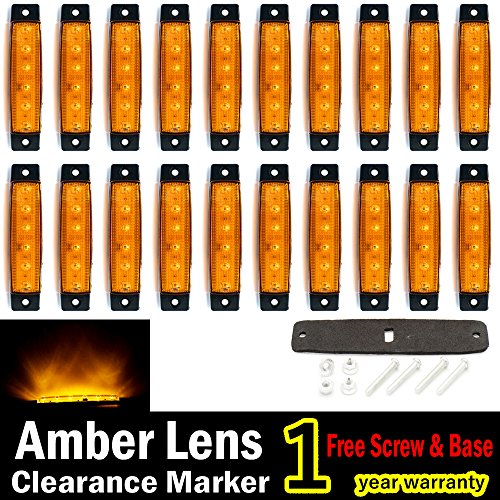 (Pack of 20) LEDVillage 20 Pcs 3.8 6 LED Amber Side Marker Lights, Amber Trailer Marker Lights, Rear Side Marker Lamp Amber, Led Marker Lights for Trucks, Cab Marker, RV Marker light Yellow