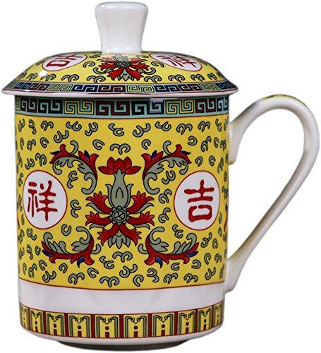 BandTie Convenient Travel Home Office Chinese Gongfu Loose Leaf Tea/Coffee Brewing System- Bone China Porcelain Tea Cup/Coffee Cup/Tea Mug/Coffee Mug Personal Teacup with Cup Lid (Ji Xiang Ru YI)