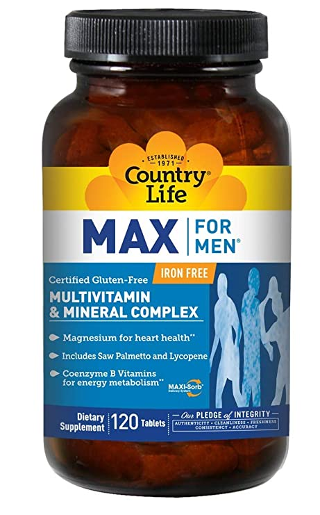 Country Life, Max for Men, Multivitamin & Mineral Complex, Iron-Free, 120 Tablets Vitamins, Minerals & Supplements at amazon