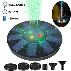 Solar Fountain, Solar Fountain Light with 4 Spray, 1.4W 5V Low Self-Consumption, Stable and Longer Working Time, Bird Bath Fountains with 8 LED Lights for Bird Bath, Garden, Pond, Pool, Outdoor