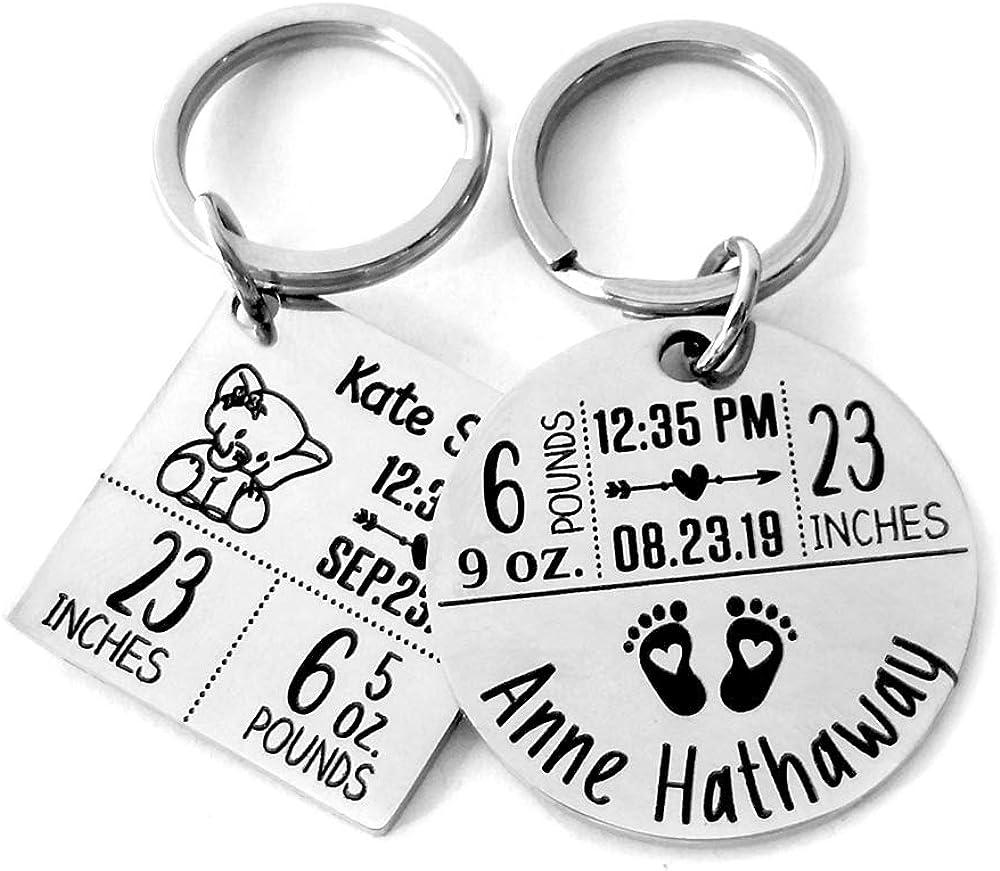 Gift for 1st Birthday Custom Newborn Baby keyring Infant gift Newborn Baby Key chain Personalized Newborn Baby Keychain Infant key ring