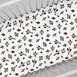 Carousel Designs Retro Rockets Crib Sheet - Organic 100% Cotton Fitted Crib Sheet - Made in the USA