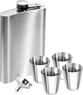 Anpro 2 Packs 8oz 227ml Hip flask set, 304 Stainless Steel flasks with 2 funnels and 2 Small Cups