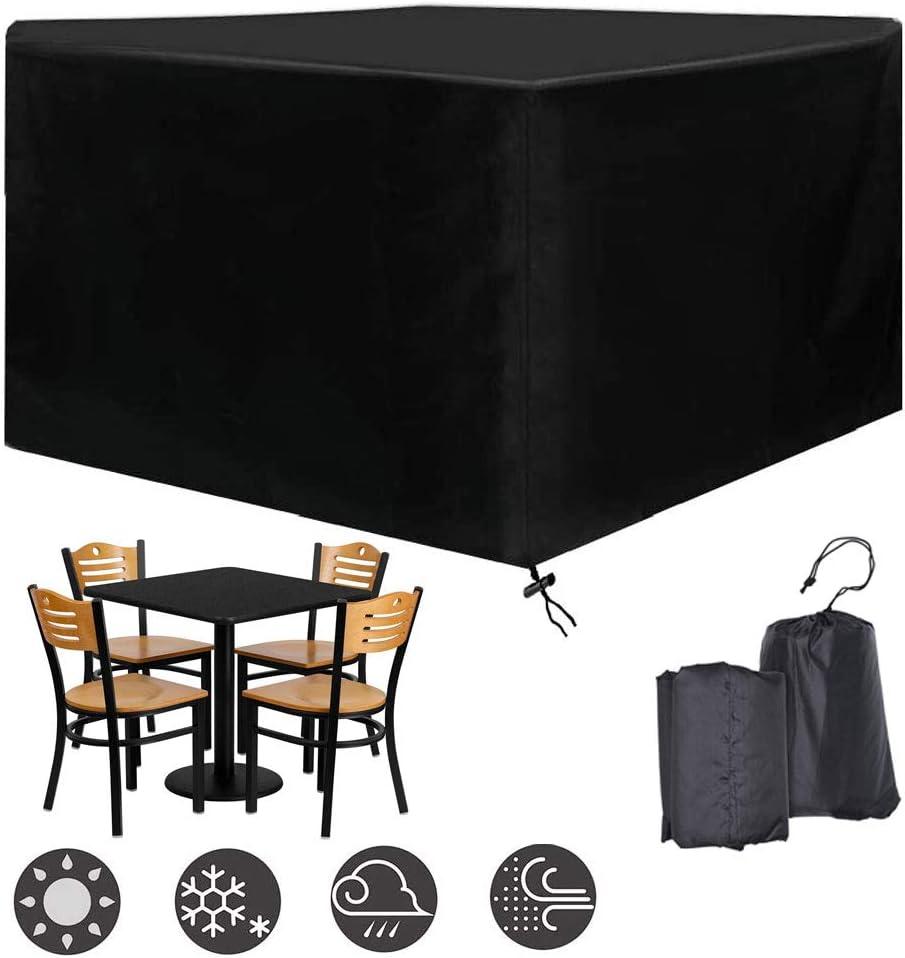 Jard/ín Mesas y Sillas al Aire Libre 210D Oxford Negro,L120 /× W120 /× H74cm DZKU Funda Protectora para Muebles de jard/ín Exterior Patio Cubierta Impermeable para Muebles Rectangular