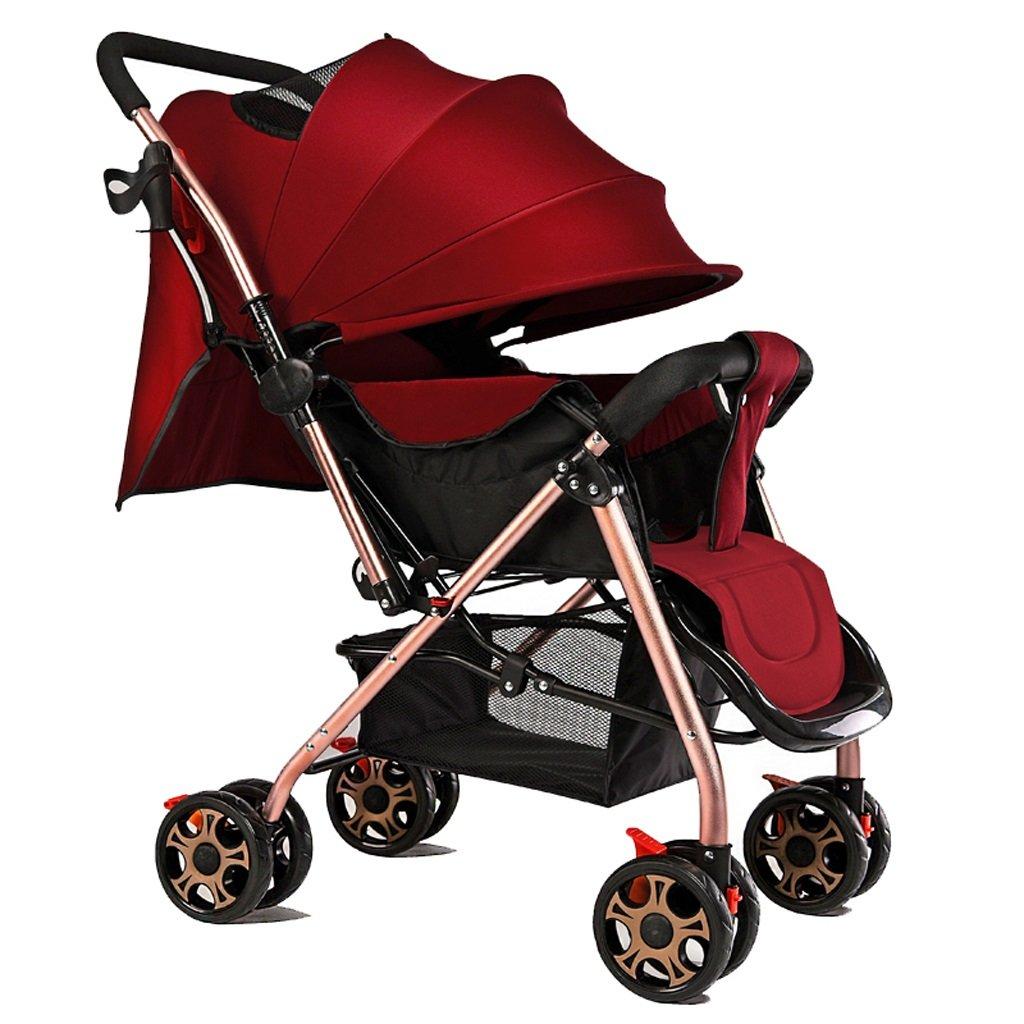 赤ちゃんのベビーカーはリクライニングできる軽量折りたたみポータブルベビーカー(ブルゴーニュ)69 * 53 * 100cm B07BTTV1GF