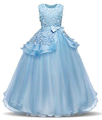 42eb4e7fe70 Bestfive Girls Tulle Lace Formal Party Dress Kids Sleeveless Prom Ball Gown  Blue Size 6