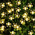 50 LED 23FT Fairy Solar Starry String Christmas Lights Outdoor Waterproof Peach Flower Pattern for Home, Lawn, Garden, Wedding, Patio, Party Holiday Decorations