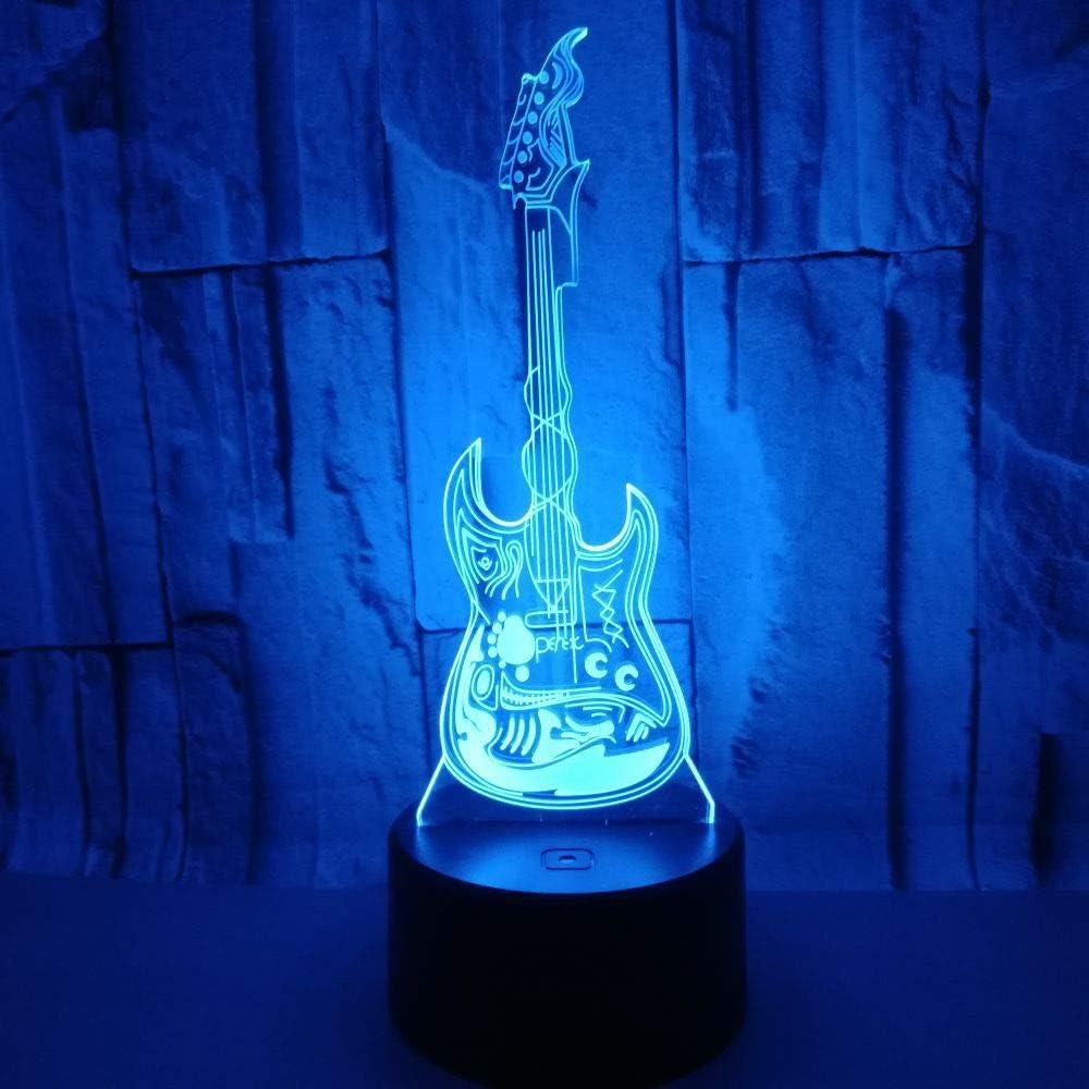 Luz de noche con ilusión LED 3D lámpara de mesilla de noche luz para dormir para niños 7 colores Interruptor táctil/remoto batería USB/AA guitarra: Amazon.es: Iluminación