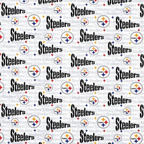 100% Cotton NFL Sports Team Pittsburgh Steelers White Multi-Print Window Valance Panel/Kids Nursery Window Treatment Decor (32