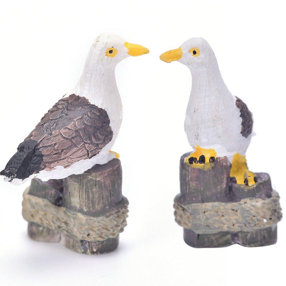 2 Pcs Sea Bird Seagull Fairy Garden Kits Figurines for Miniatures Ornaments Fairies Gardens House Terrarium Kit Dollhouse Supplies DIY Outdoor Decorations Moss Micro Landscaping Decor
