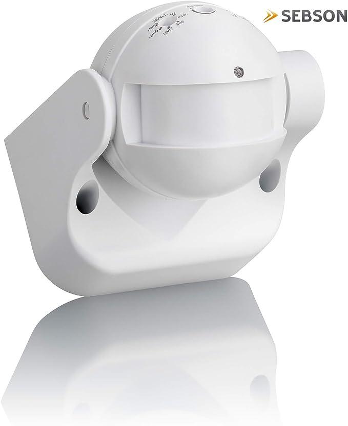 Sebson® Detector de Movimiento Exterior, IP54, HF Sensor, Montaje ...