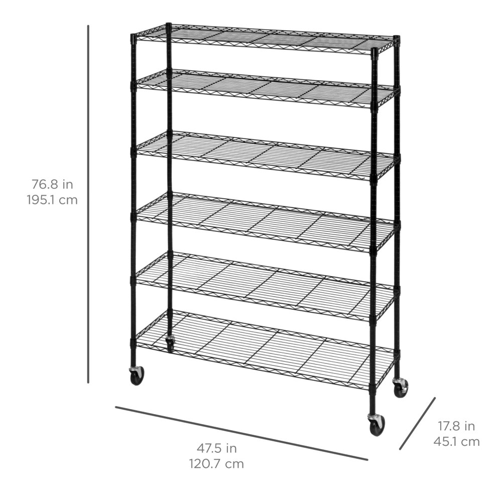 Durable Constructed 6-Tier Steel Shelving Storage Organizer Adjustable With Castor Wheels - Black Finish #1145 by Koonlert@shop (Image #5)