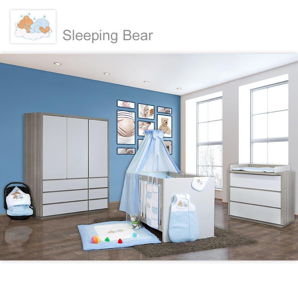 Babyzimmer Atlanta in Akaziengrau 10 tlg. mit 3 türigem Kl. + Sleeping Bear Blau