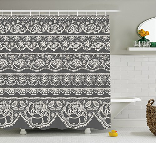 (Ambesonne Grey Decor Shower Curtain by, Eastern Lace Pattern with Rose Floret Embellish Nostalgic Bridal Feminine Retro Art, Fabric Bathroom Decor Set with Hooks, 70 Inches, White)