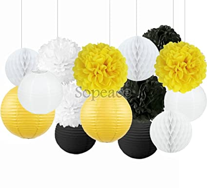 Amazon sopeace party decoration kit white yellow black tissue sopeace party decoration kit white yellow black tissue paper pom poms flowers papers lanterns circle garland mightylinksfo