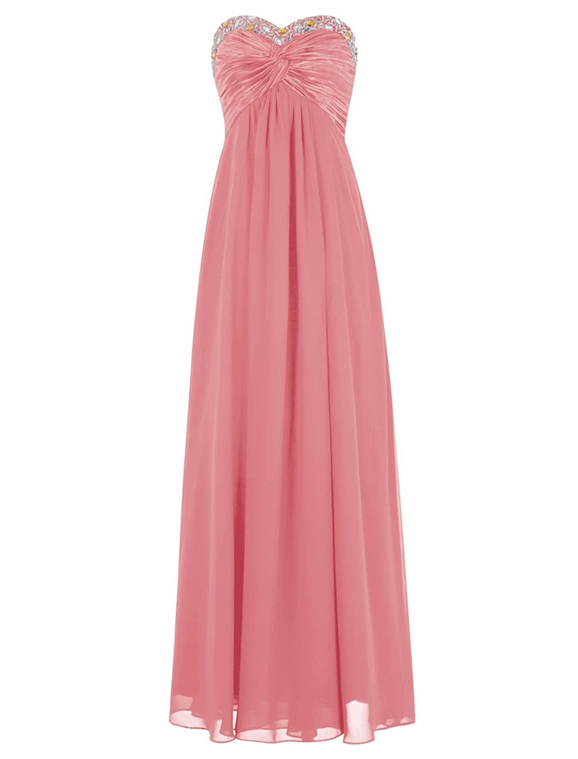 Dressystar Beaded Sweetheart Bridesmaid Chiffon Satin Dresses Long Evening Gowns