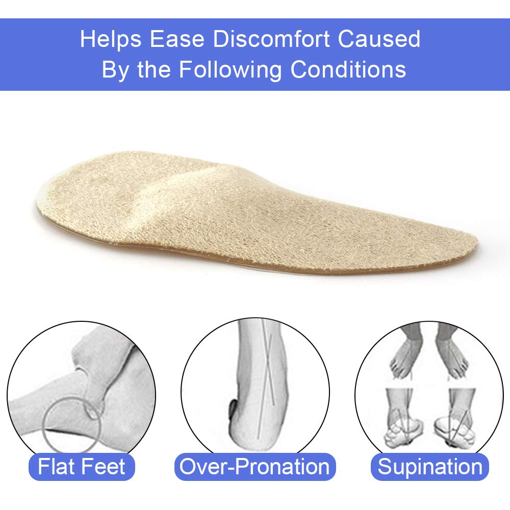 Dr. Shoesert Arch Support Shoe Insoles for High Arch, Flat Feet, Gel Arch Pad Relieve Pressure and Foot Pain for Women and Men (Beige)