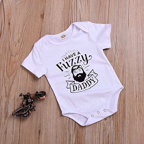 Infant Newborn Baby Boys Girls I Have A Fuzzy Daddy Funny Short Sleeve White Bodysuits Rompers Outfits