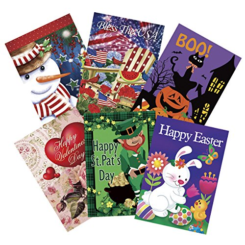 Happy Holidays Set (Morigins Holiday Decorative Garden Double Sided Seasonal Flag Set of 6 (12.5x18 inches))