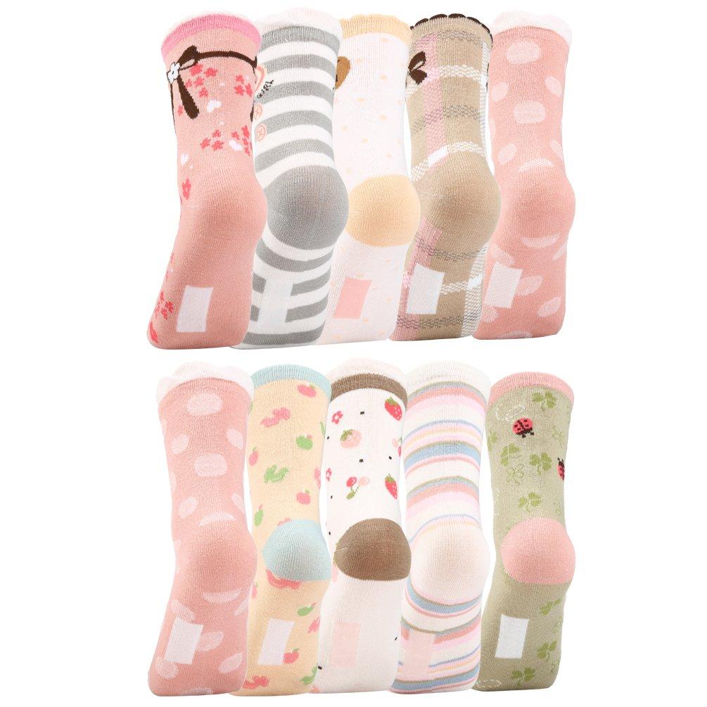 VBG VBIGER Girls Cotton Crew Seamless Socks Cute Novelty for Baby Toddler Kids 10 Pack ¡ by VBG VBIGER (Image #2)