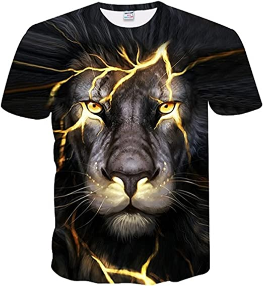 Mens Lion T-Shirt NDGDA 3D Printed Short-Sleeved Top Blouse